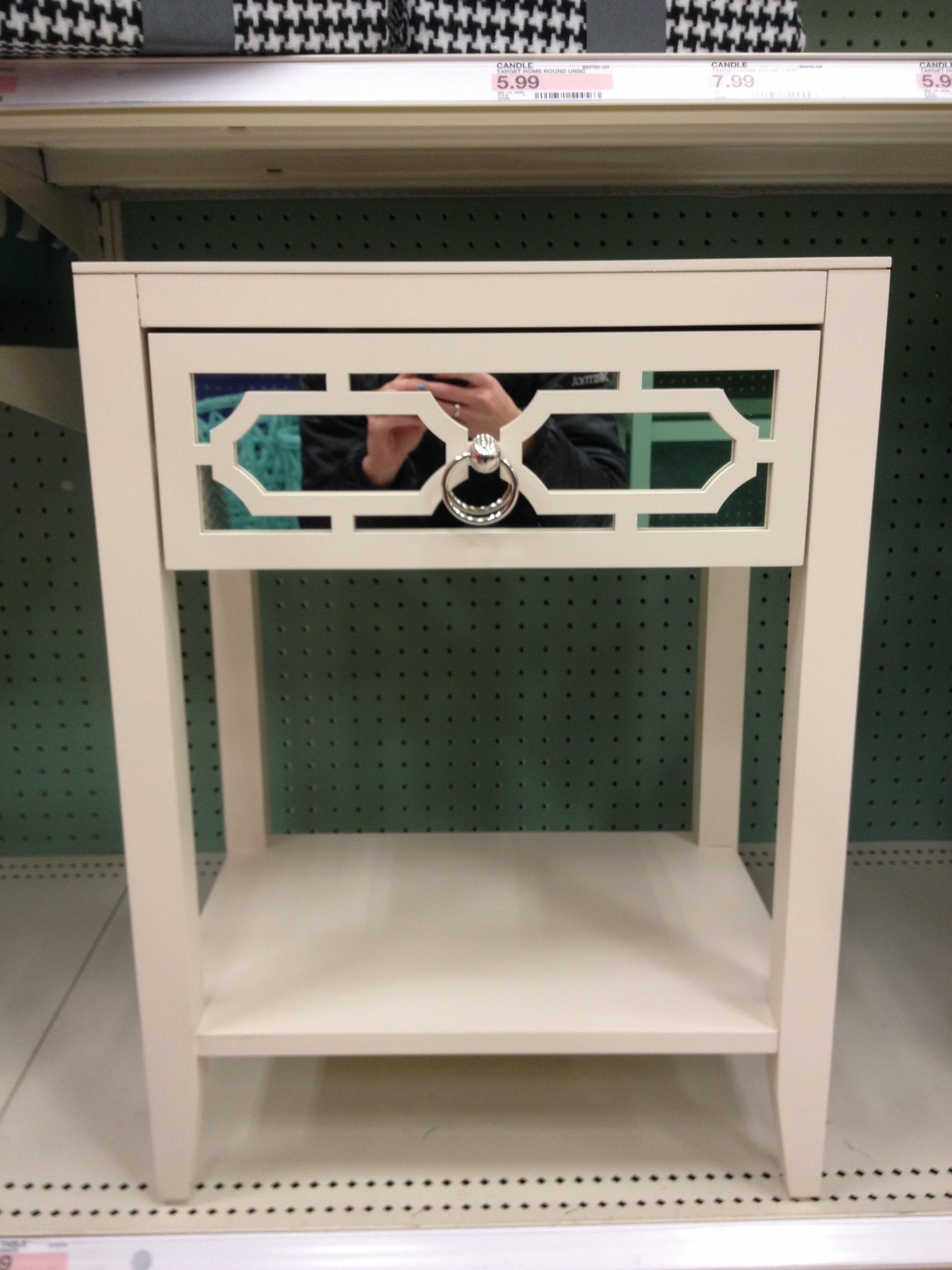 White Mirrored Drawer Accent Table - Target 5