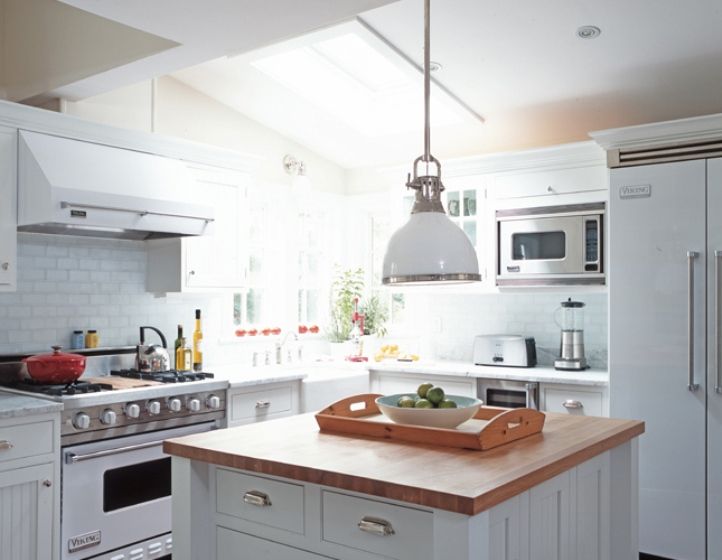 julian+wass+white+kitchen+school+house+milk+glass+chrome+pendant+light+island+butcher+block+double+door+refrigerator+subway+tile+backsplash
