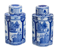 Society Social Blue and White Tea Jar Set