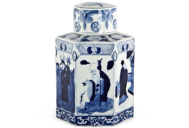 Michelle Nussbaumer Blue and White Tea Jar