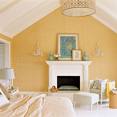 Sunny Bedroom with Grasscloth